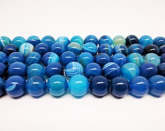 Agate Beads Blue Agate Beads Striped Agate Beads Natural Beads Blue Beads Jewelry Beads Bracelet Beads Earring Beads for Jewelry Making