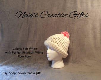 PERFECT PINK Pom Pom on Soft White  -  Warm, Cozy Winter Hat