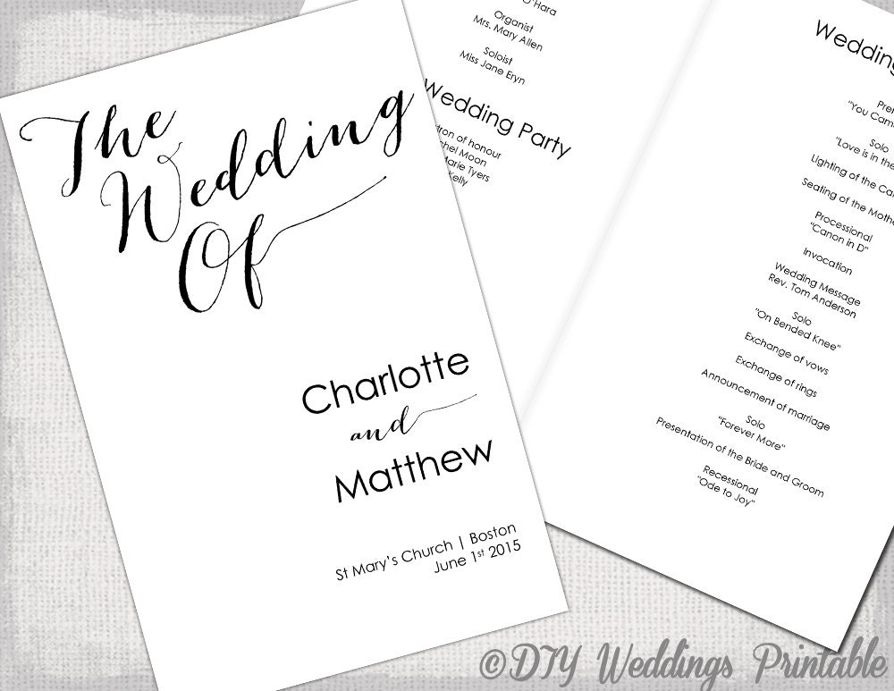 Wedding Program Template Calligraphy Black  White Printable