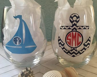 Monogrammed Nautical Wine Glass, Personalized Anchor Wine Glass, Personalized Sailboat Wine Glass, Summertime Wine Glasses