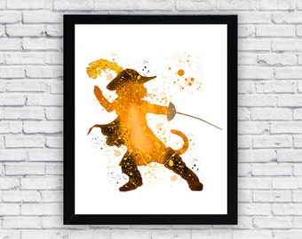 Puss in Boots watercolor print, Puss in Boots Wall Art, Puss in Boots poster, Puss in Boots Nursery Decor, Baby Boy Nursery