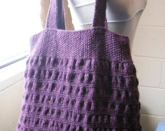 Hand Knitted Tote Bag, Purple Handbag. Gift for Her, Mothers Day Gift