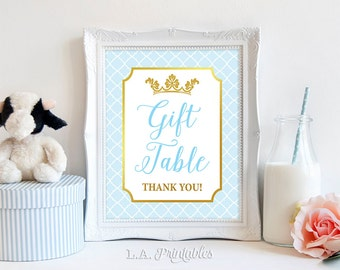 Gift Table Shower Sign, Light Blue & Gold Prince Shower Sign, Birthday, Baby Shower Sign,  INSTANT PRINTABLE