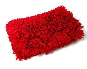 Sale/FREE SHIPPING Christmas Gift Red Faux Fur Clutch Bag Boho Fur Handbag Red Clutch Bag Red Fur Handbag Large Red Faux Fur Purse Faux Fur