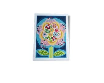 """Canvas framed """"Flower"""" design vintage 1970's"""