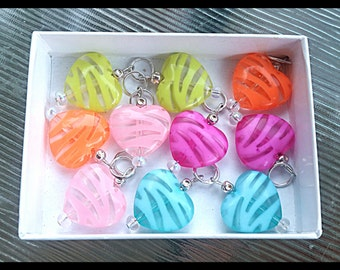 Hearing Aid Charms: Zebra Striped Hearts!