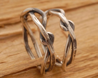 Twisted Tree Branch Wedding Band Set, Rustic Sterling Silver Wedding Bands, Commitment Jewelry, BE14