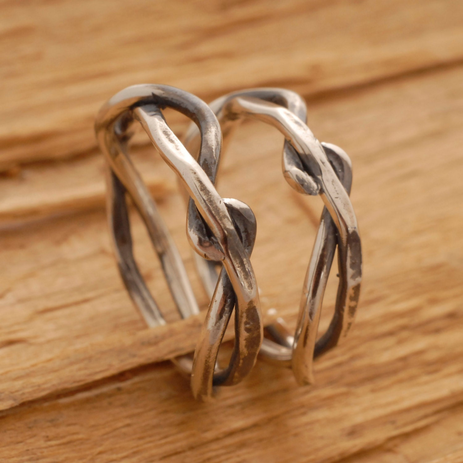 Twisted Tree Branch Wedding Band Set Rustic Sterling Silver