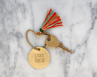 personalized brass keychain / key tag