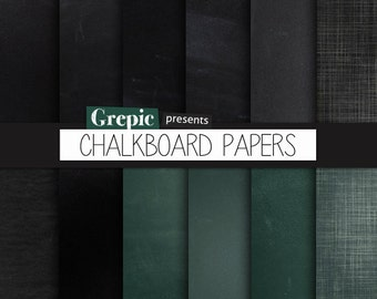 "Chalkboard digital paper: ""CHALKBOARD PAPERS"" with chalkboard backgrounds in black, grey, and green made from real high res chalkboards"