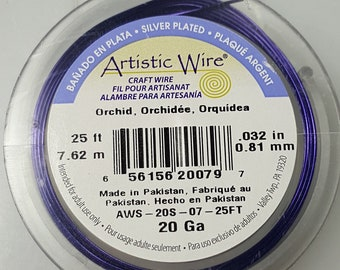 Orchid Artistic Wire, 20 Gauge, Permanently Colored, Silver Plated - 25 Feet (7.62 metres) - 1 Roll