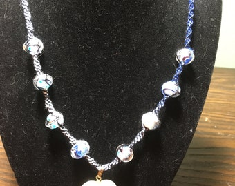 Pearl Heart with Blue multi colored beads