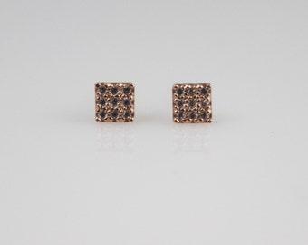 14K solid gold square cz earrings, 14k gold square earrings, 14k gold cz stud, 14k dainty earrings, 14k everyday stud,14k minimalist stud