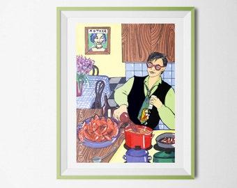 Chef  wall art,cooking gifts,Comic art,man wall print, lobster print ,  man cook  wall art ,kitchen decor,