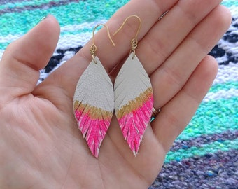 Mini Leather Feather Earrings / leather feathers / leather earrings / boho earrings / western earrings / leather jewelry / pink earrings