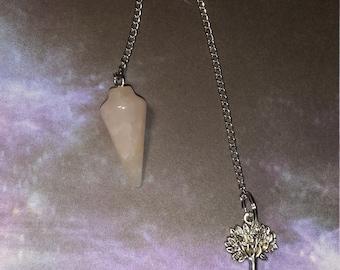 Rose Quartz Pendulum w/ (optional) Tree of Life Charm! ~Boho, Witch, Mystic, Divination