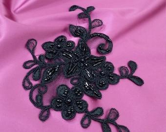 Black Lace applique, Beaded lace applique, French Chantilly lace applique, 3D lace, bridal lace applique M0017