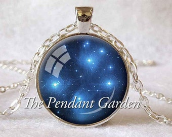PLEIADES STAR PENDANT Astronomy Jewelry Seven Sisters Jewelry Astronomer Gift for Astronomer Star Lover Gift Space Jewelry Blue White