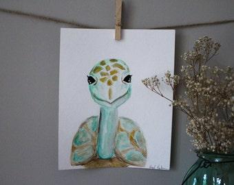 ORIGINAL Watercolor Baby Nursery Safari Animals Wall Art Turtle