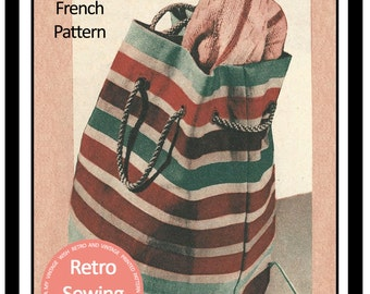 1950's Tote Bag  - PDF Sewing Pattern - PDF Instant Download