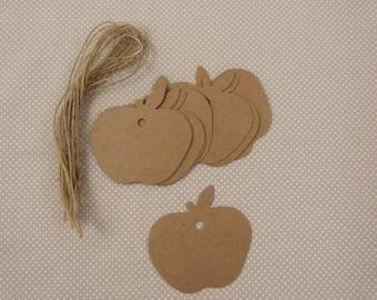 Set of 10 kraft cardstock tags, apples