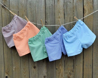 Gingham shorts or pants, Child shorts, boy or girl, many colors, thanksgiving, Easter...3m,6m,9m,12m,18m,2t,3t,4t,5,6,7,8,10,12