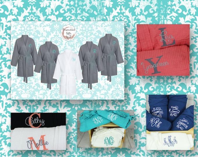 Bridal Party Robe, Personalized Bridesmaid Robe Set of 10 ,Monogrammed Robe, Waffle Robe, Personalised Bridesmaid Gifts, Spa Day Robe