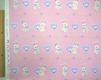 2018 Classical and Modern Japanese Fabric  / Rabbits and Hearts Oxford Pink -  50cm x 110cm