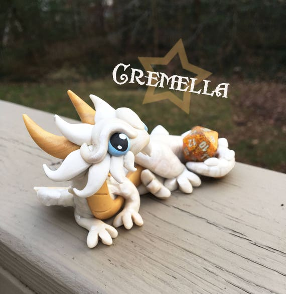 Polymer Clay Dice Holder Dragon- Pearl White, Gold, and White Dragonling: Cremella