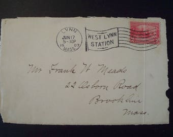 "Vintage 1907 Envelope Back Post Marked ""Lynn,Mass"" 2c Jamestown Stamp*"
