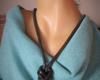 Gunmetal Large Snake Necklace and Earring Set