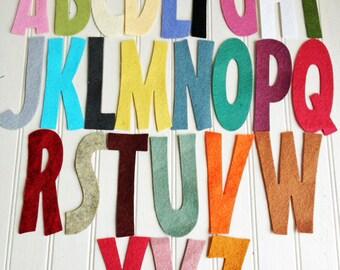 "Wool Felt Alphabet Set - 4"" Tall Skinny - Great for Learning"