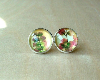 20% OFF -- Flabelate Maidenhair - plant flora stud earring ,Beautiful gift for her