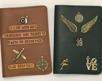 Customised Personal Passport Cover with Name Charms and Quotes
