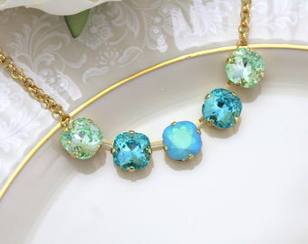Gold Turquoise necklace, Bridal necklace, Bridal jewelry, Swarovski necklace, Blue crystal necklace, Statement necklace, Layering necklace