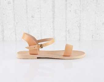 Open Toe Ankle Strap Veggetable Tan Leather Sandals