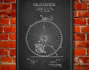 1881 Velocipede Patent Canvas Print, Wall Art, Home Decor, Gift Idea