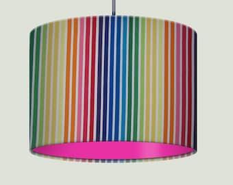 Bright Rainbow Stripe Fabric Drum Lampshade with Hot Pink Lining Nursery Girls Childrens Baby