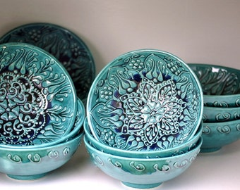 TEAL Vintage Ceramic Bowls HAND-MADE and Hand-Painted with Moroccan Bohemian Henna Designs for Home Decor