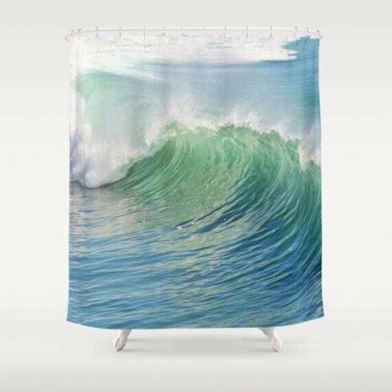 Ocean Shower Curtain, Waves Bathroom, Aqua Blue Home Decor, Nautical Photo Shower Curtain, Wave Shower Curtain, Nature, Surf, Beach, Green