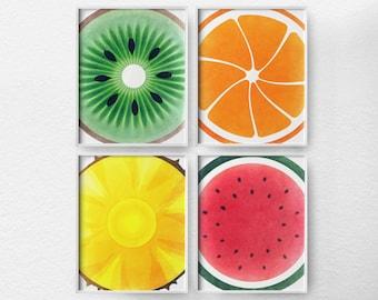 Fruit Kitchen Art, Kitchen Decor, Kitchen Poster, Food Art, Kitchen Print, Fruit Art, Fiesta Colors, Modern Decor, Minimalist Art, 0019
