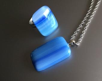 Glass Pendant-set-necklace-glass-jewelry-ornament-gift women-pendant-chain-pendant-glass ring-jewellery-Spectrum Art glass blue (free necklace)