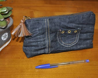 Cosmetic pouch - makeup - dark denim and small pocket