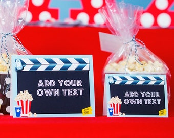 Movie Party Food Labels - Movie Party Buffet Table Signs - Movie Party Candy Table Labels INSTANT DOWNLOAD by Printable Studio