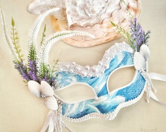 Blue,Green, Purple And White Masquerade Mask With Seashells - Ocean Themed Embellished Venetian Style Mask With Embellishments