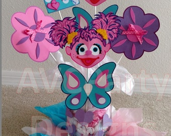 Sesame street Cookie monster, Abby Cadabby Birthday Party Decoration Centerpiece