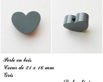 21 x 16 mm wooden bead, Pearl flat heart: gray
