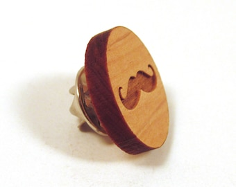 Mustache Wooden Tie Tack Lapel Pin