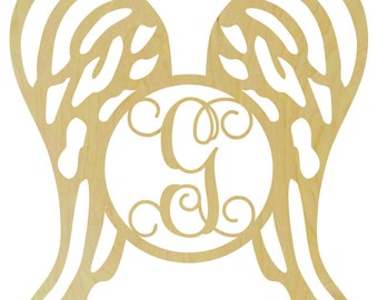 Wooden Angel Wings with Single Letter Insert - M102271