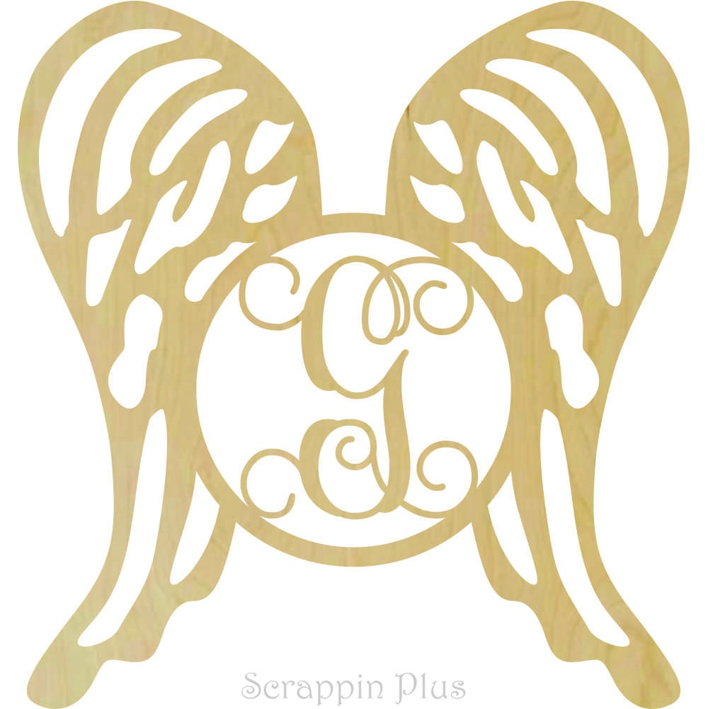 Wooden Angel Wings with Single Letter Insert M102271